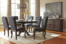 ashley dining room furniture set 7 piece oval dining table set with upholstered side chairs by