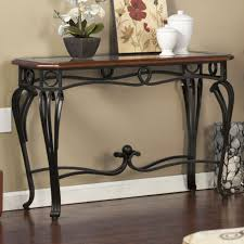 glass and metal console table console table entry hall tv stand end table scrolled metal legs