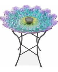 wilson and fisher solar lighted bird bath spectacular deal on wilson fisher purple blue flower glass