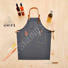 tablier de cuisine homme tablier de travail en toile gris foncé tablier chic et de qualité