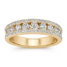 classic wedding bands channel set classic wedding band in 14k yellow gold