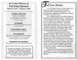 programs for funeral services ted evan stewart s funeral service program