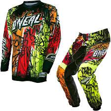 answer motocross gear oneal element 2017 vandal motocross jersey u0026 pants black neon kit