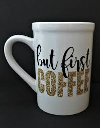 adorable coffee mug made with silhouette cameo and glittler heat