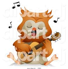 vector clipart of a cartoon owl singing while playing a guitar by