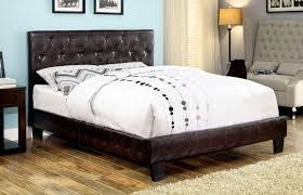 brown crocodile skin tufted leatherette upholstered bed frame