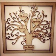 family wood personalised wooden family tree frame smoked effect 15 names new