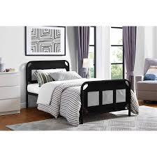 Black Twin Bed Mainstays Fairview Metal Twin Bed With Storage Pockets Walmart Com