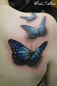 3d three butterflies on right back shoulder by