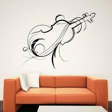 fashionable home decor flower vinyl art violin wall sticker music