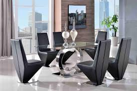 Steel Dining Room Chairs Channel Glass Dining Set With 4 Black Rita Chairs