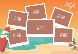 beach photo collage template download free vector art stock