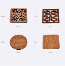 of 2 small size chinese style bamboo cool coasters drink coaster