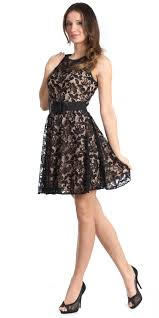 black lace short knee length prom dress with wide strap