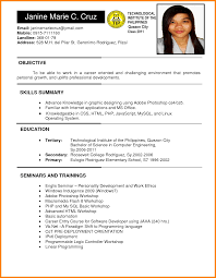 A Simple Resume Sample by Filipino Resume Sample Resume For Your Job Application