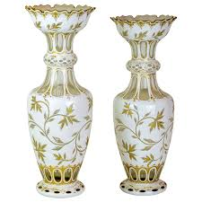 White Tall Vases Pair Of Bohemian White Tall Overlay Crystal Glass Vases For Sale