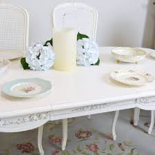 White Rose Furniture Shabby Cottage Chic Dining Table 1 Leaf French Style White Rose