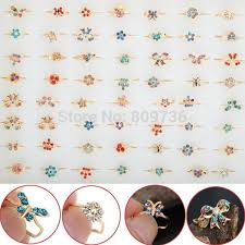 small rings design images 10pcs gold tone assorted design crystal ring cute kid child party jpg