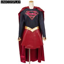 Halloween Costumes Supergirl Dc Comics Dark Supergirl Dress Cosplay Costume Black Coat Red