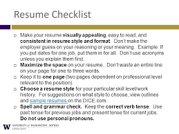 Resume Checklist Technical Resumes Career Center Uw1 161 425 Ppt Download