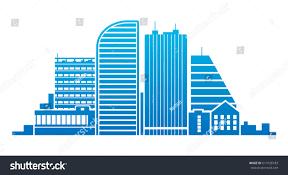 Modern Buildings Vector Illustration Blue City Modern Buildings Stock Vector