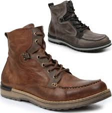 gbx mens draft boots genuine leather moc toe ankle high lace up