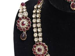 fashion jewelry red necklace images Fashion jewelry set india red long kundan necklace bollywood jpg