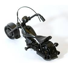 harley davidson motorcycle model scrap metal sculpture black small