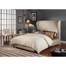 Discounted Bed Frames Size Upholstered Wingback Bed Frame In Beige Bed Frames