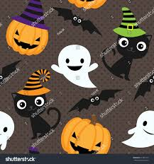 free repeatable halloween background seamless halloween vector pattern cats ghosts stock vector