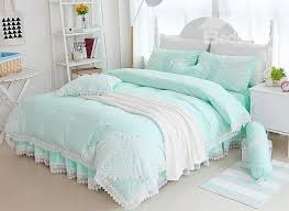 green bed set princess style lace edging mint green cotton 4 piece bedding sets