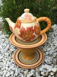 Upcycled Garden Decor Teapot Garden Whimsy Ceramic Birdbath Upcycled Garden Art