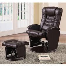 deluxe baby nursing glider rocker recliner lounger brown pu