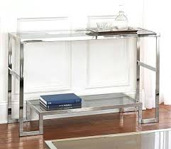 Modern Entryway Table Glass Top Sofa Table Contemporary Espresso And Chrome Modern