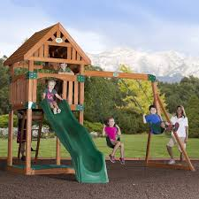 Backyard Playground Slides by Amazon Com Backyard Discovery Trek All Cedar Wood Playset Swing