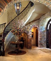 nice and appealing wrought iron spiral staircase tremendous home interior featuring natural stone slate wall