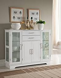 Kitchen Buffet Furniture Amazon Com Kings Brand Kitchen Storage Cabinet Buffet With Glass