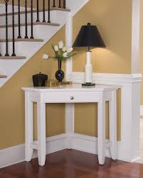 Living Room Corner Table Furniture Organization Modern White Wood Corner End Table With