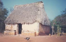 adobe house maya thatched roof adobe wall house