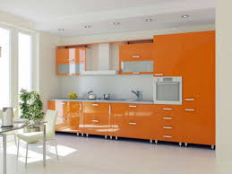 Orange Kitchens by Tag For White Gloss Kitchen With Orange Splashback Nanilumi