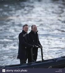 daniel craig and rory kinnear film a scene for the new bond movie