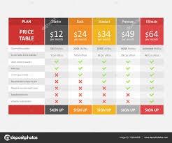 pricing table template for web design and business u2014 stock vector