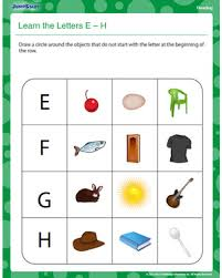 learn the letters e u2013 h u2013 free kindergarten reading worksheet