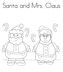 santa and mrs claus christmas coloring pages printable