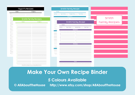 create your own planner template make your own personalised printable recipe binder 438 listing photo