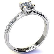 inel de logodna cu diamant inel de logodna din aur alb cu 14 diamante pave pe veriga firesq