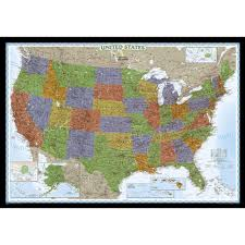 Political Maps U S Political Map Earth Toned Enlarged And Mounted National