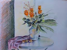 Drawings Of Flowers In A Vase Drawing Full Hd Wallpaper And Background 2592x1936 Id 743535