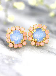 serenity earrings blue pink earrings quartz serenity earrings swarovski studs