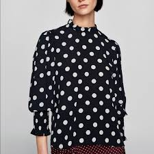 black polka dot blouse 11 zara tops black ruffled polka dot blouse nwt from